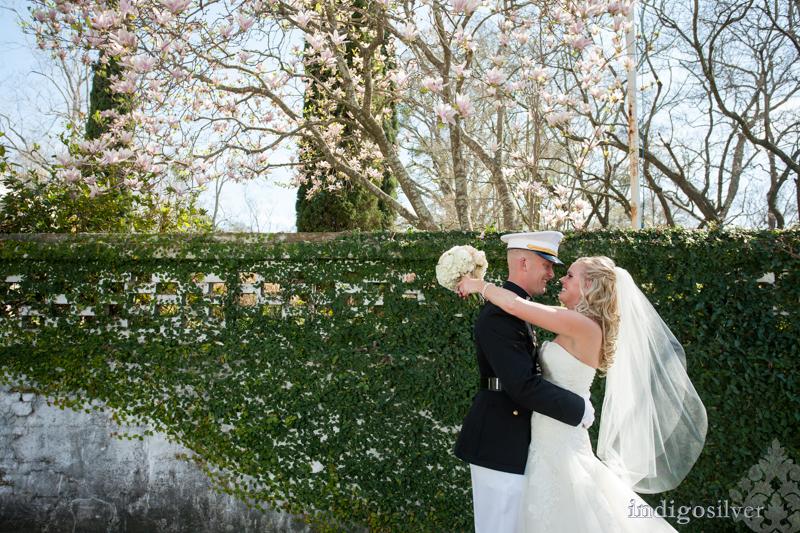 military wedding at balcony on dock | wilmington wedding photographers