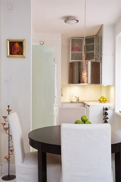 amenajari, interioare, decoratiuni, decor, design interior, garsoniera, spatii mici, scandinav, bucatarie pe colt