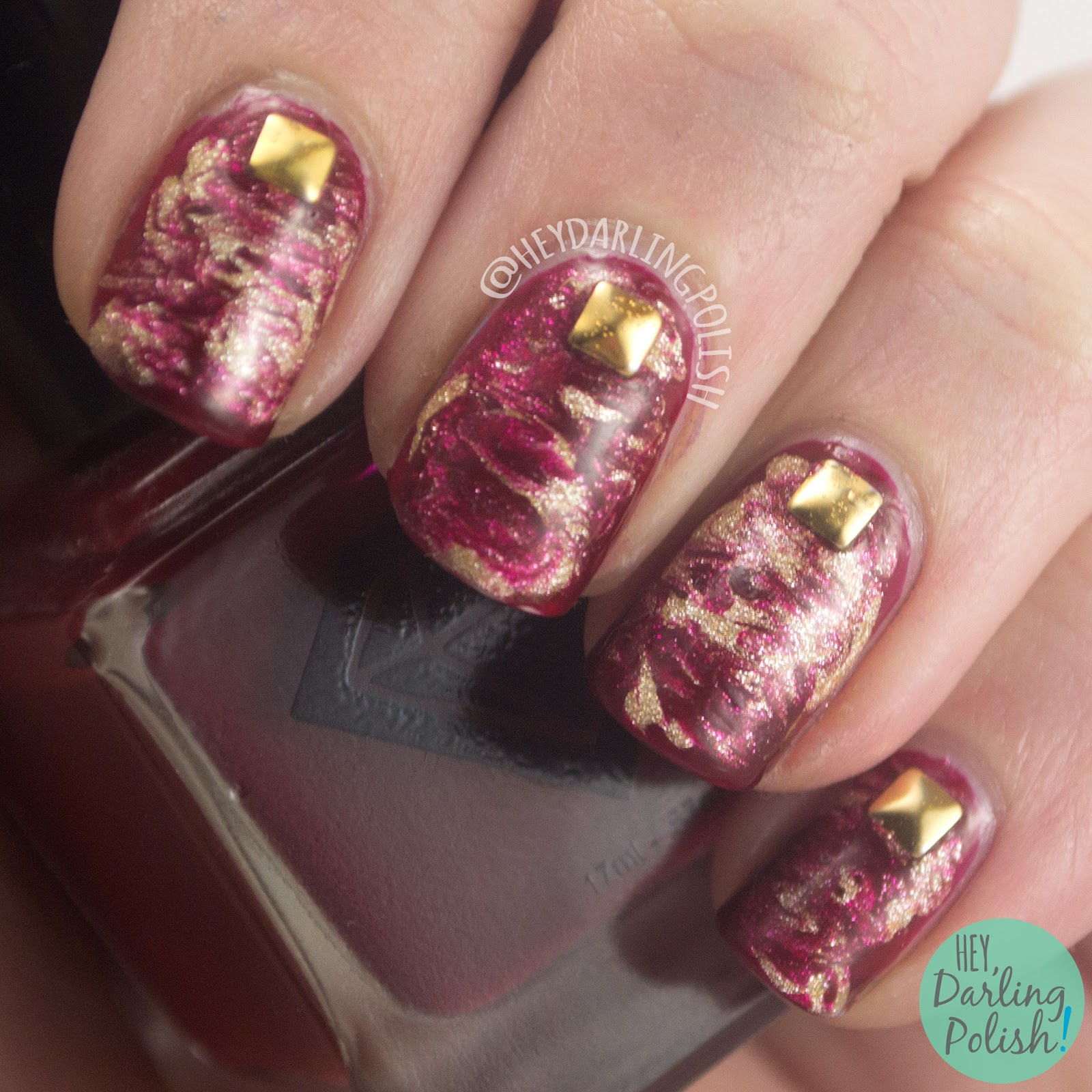nails, nail art, nail polish, red, gold, needle drag, studs, hey darling polish, 52 week challenge