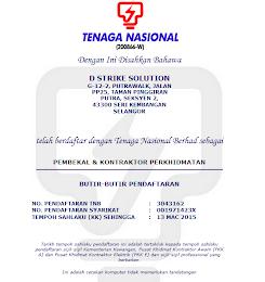 SIJIL VENDOR TENAGA NASIONAL BERHAD (TNB)