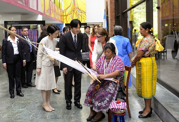 Japan's Prince Akishino (R) and his wife Princess Kiko walk upon arrival at the Popol Vuh Museum in Guatemala City, on 01.10.2014. The Japanese Royals are in Guatemala on a four-day official visit to celebrate the 80th anniversary of diplomatic relations between both nations.