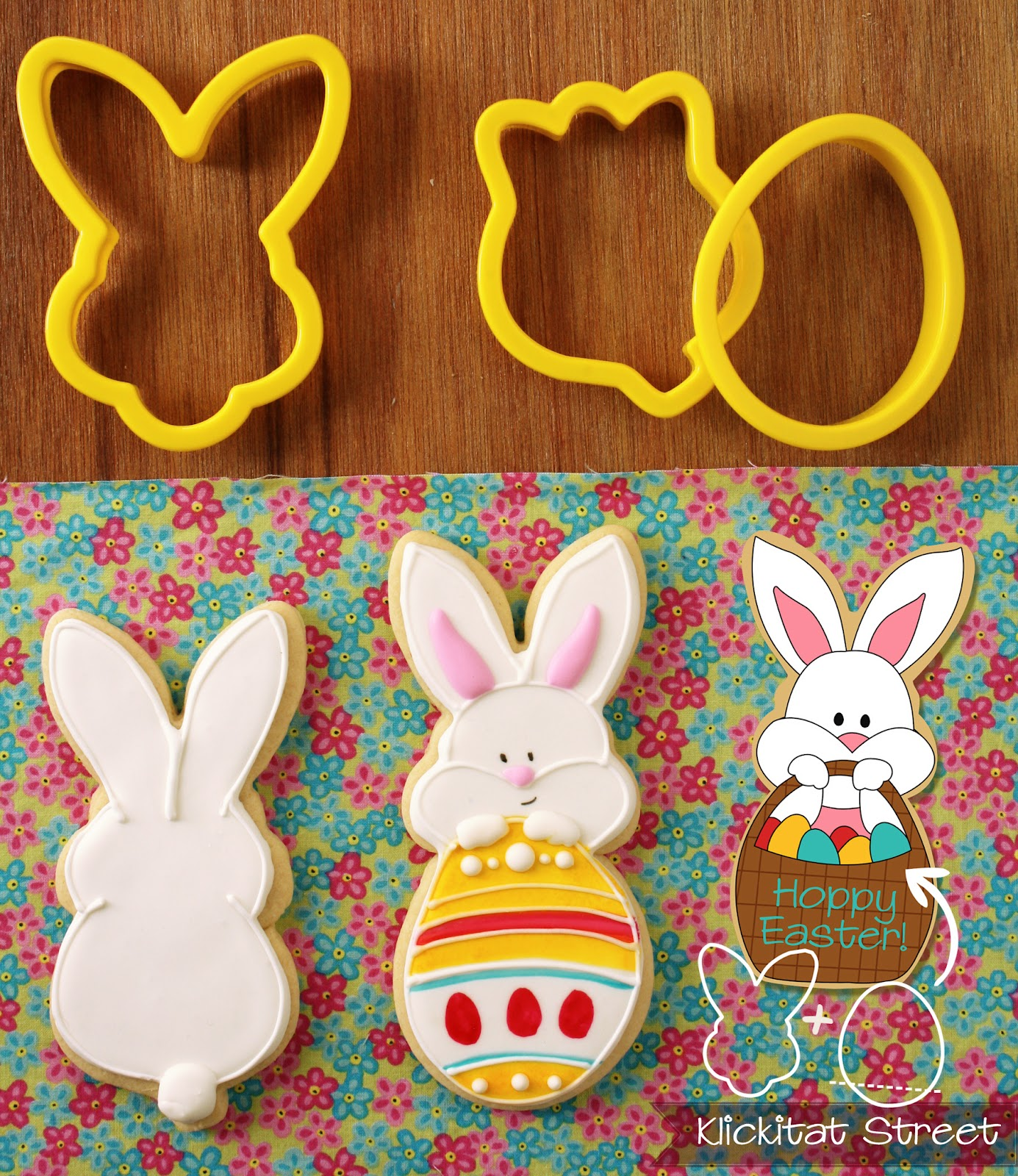 Easter bunny rabbit cookies made by combining bunnny face cookie cutter with an egg and a tulip