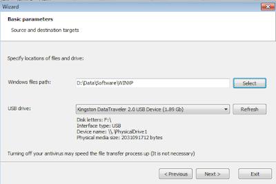 Install Komputer Windows XP Pilih USB