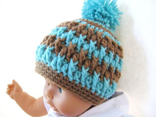 Crochet Beanie Hat Pattern For Babies : Crochet Dreamz: Pom Pom Beanie for Boy or Girl - Crochet ...