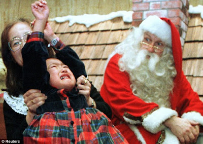 Not every child is very happy to see Santa Claus-Funny