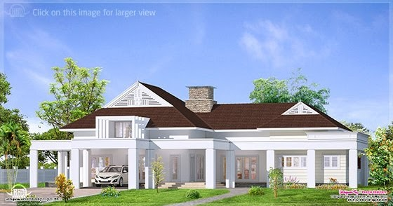 New home design single floor luxury bungalow elevation for House plans for kerala climate