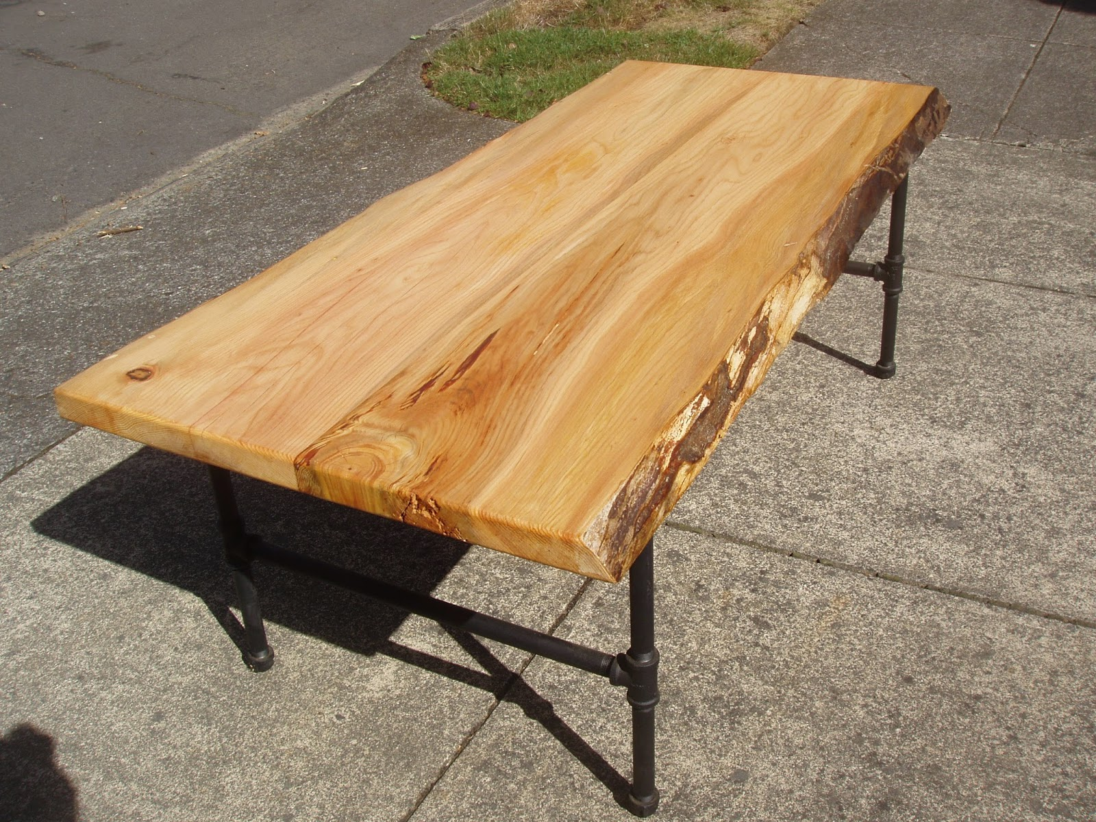 Pnw Live Edge Cedar Coffee Table With Steel Pipe Legs Sold