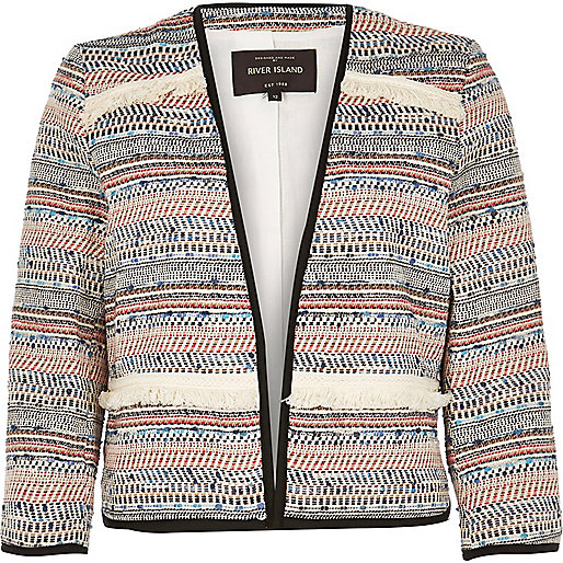 striped fringed jacket, river island cream fringe jacket,
