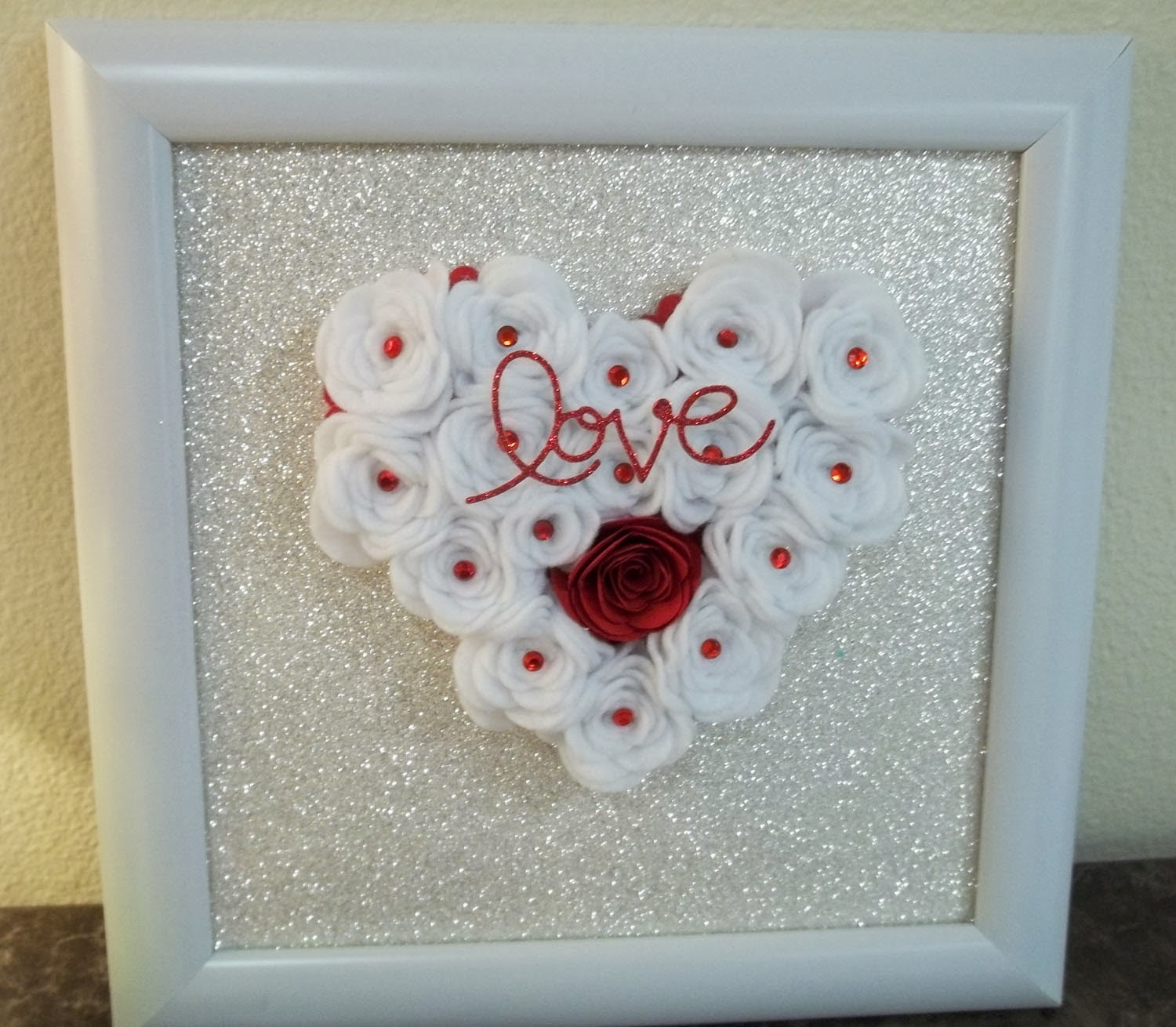 Valentine Wall art made with Stampin'UP!'s Spiral Flower Die