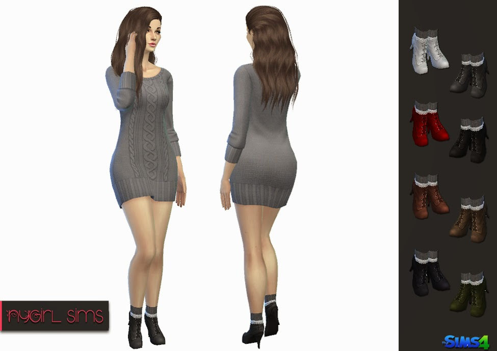 d8cff785658 High Heel Boot with Lace Trim Knitted Sock ~ NyGirl Sims
