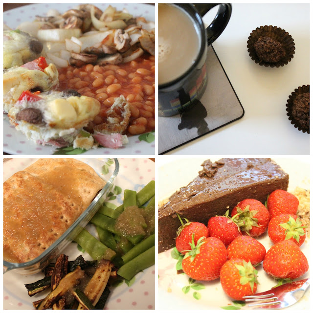 collage showing slimming world breakfast muffins with beans, mushrooms & onions. A cup of coffee with two ferrero rochers. Steak pie in a glass dish with green beans and courgettes and gravy. Slimming World Mississippi Mud Pie with strawberries.