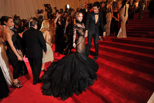 "Christina Ricci in a stunning spiderweb inspired black-and-nude lace Zac Posen mermaid gown at the ""Alexander McQueen: Savage Beauty"" Costume Institute Gala held at The Metropolitan Museum of Art on May 2, 2011 in New York City. (MET Gala 2011)"