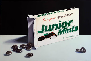 Realistic painting of Junior Mints Candy by Jeanne Vadeboncoeur
