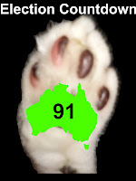 Image: Mr Bumpy's paw with outline map of Australia.  Text: Election Countdown 91.