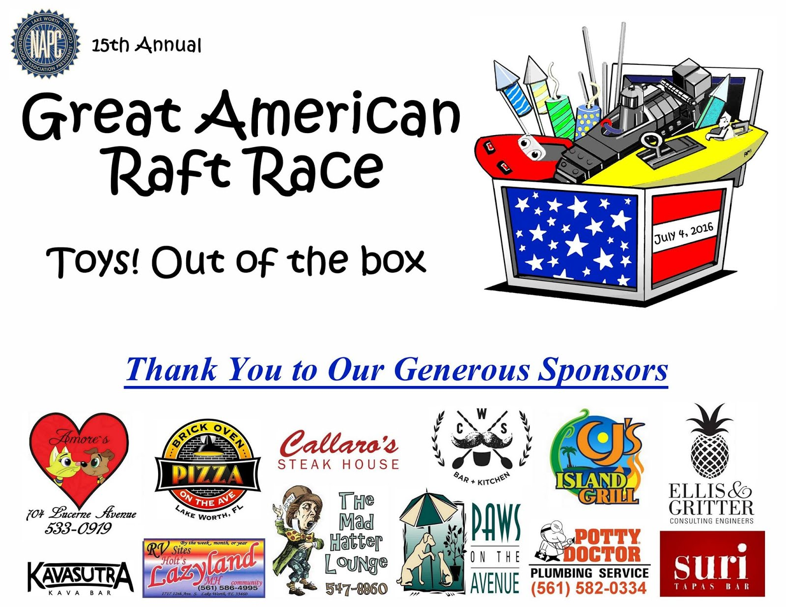 "July 4th Great Ameri- can Raft Race—Click ""Toys! Out of the Box"":"