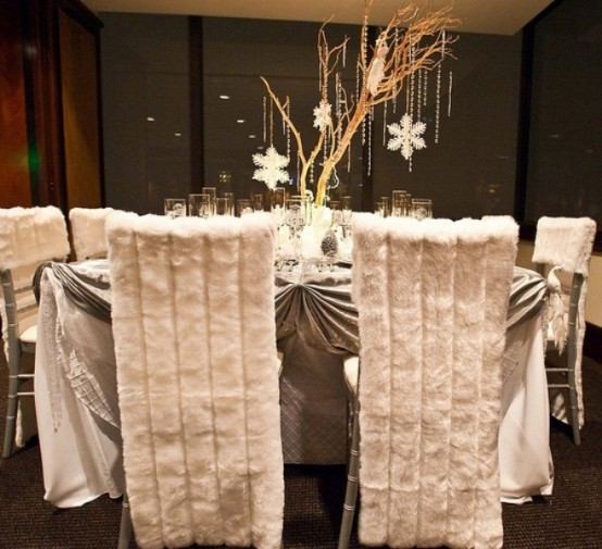 White Faux Fur Chair Cover by Seasonal Home Decoration