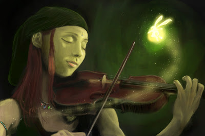 painting of woman playing violin with fairy, digitally painted by Josef Spalenka