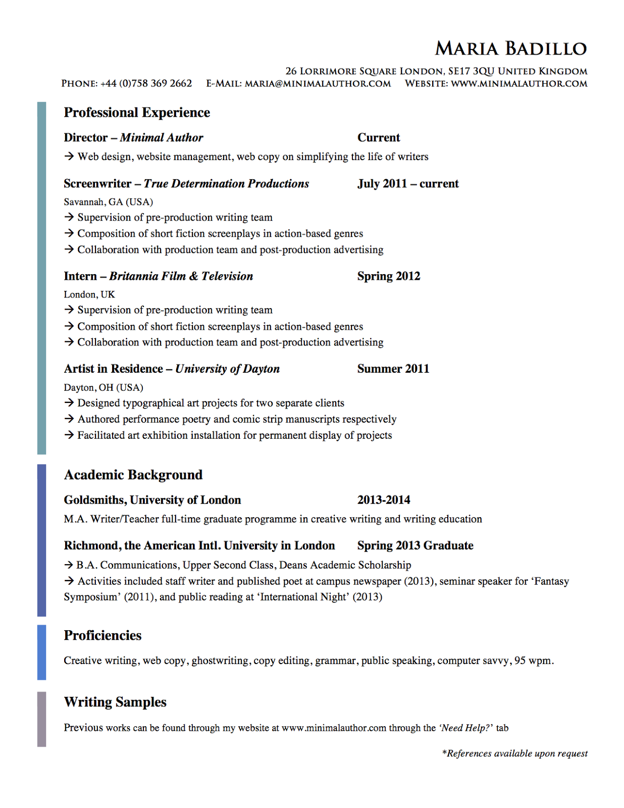 Freelancer Resume samples