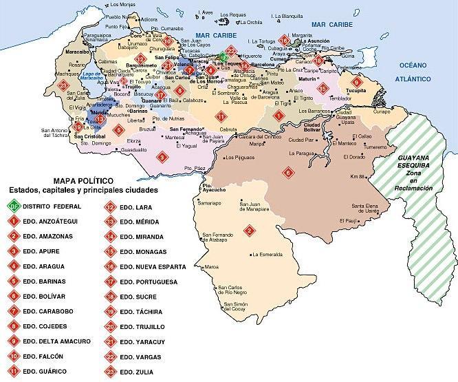 El mapa de venezuela con sus estados y capitales para colorear ...