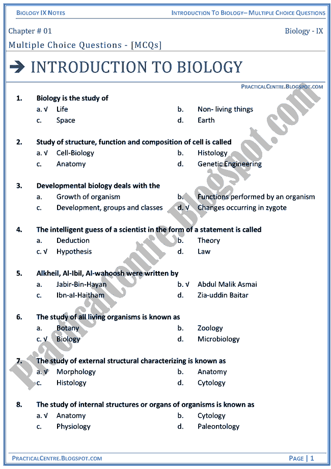 introduction-to-biology-mcqs-biology-ix