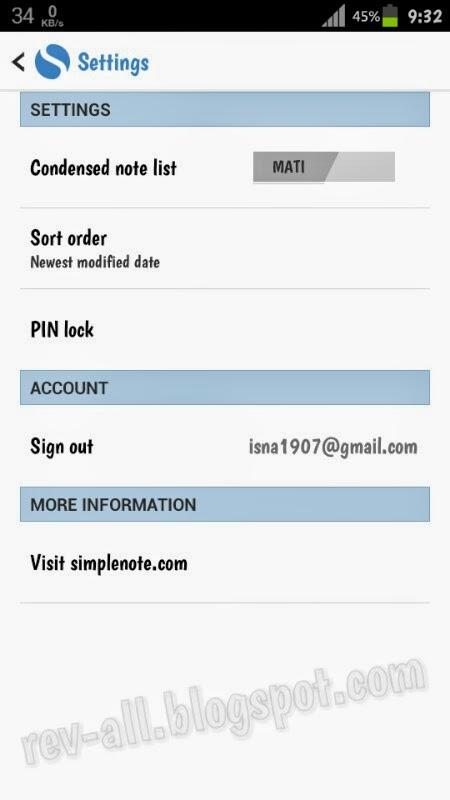 Menu pengaturan Simplenote - aplikasi notepad kecil ringan dan simpel untuk android 4.0.3 dan ke atas support cloud(rev-all.blogspot.com)