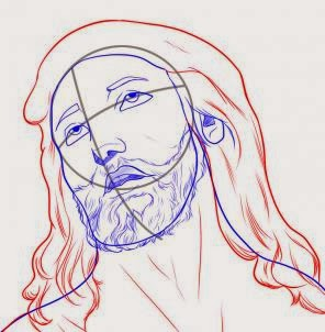 how to draw jesus face step by step easy