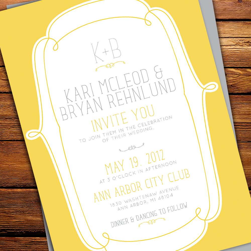 NEW YELLOW & GREY WEDDING INVITATIONS