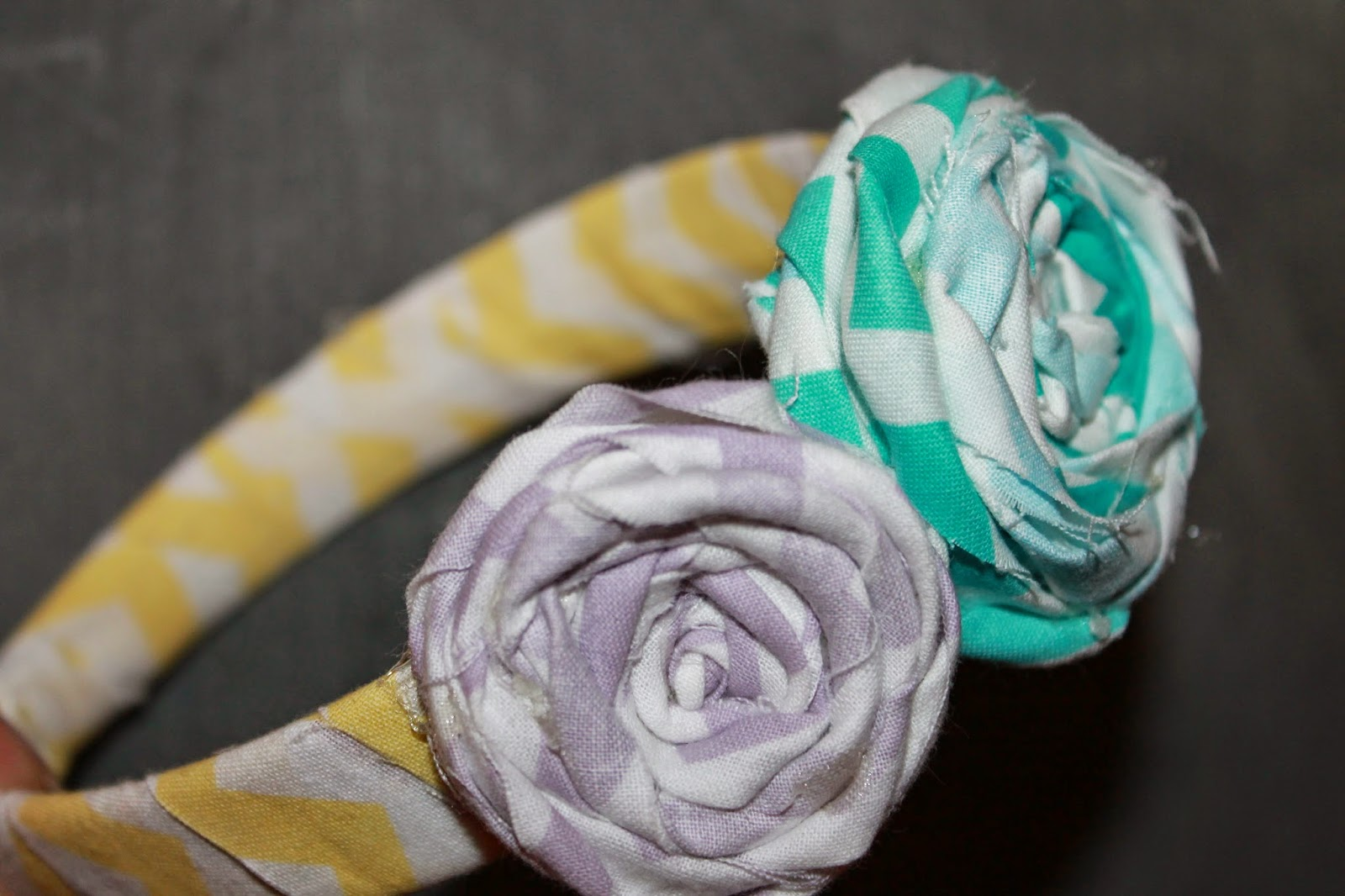 chevron fabric rosettes, DIY hair accessory