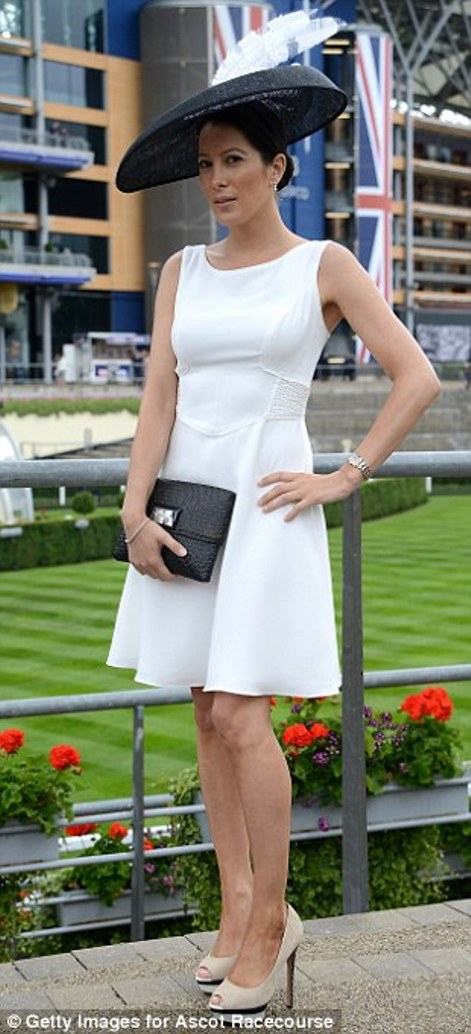 elegant black and white outfit with dramatically large hat on day 2 at Royal Ascot 2014