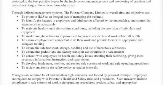 Safety Risks How to Write a Health and Safety Policy – Sample Health and Safety Policy