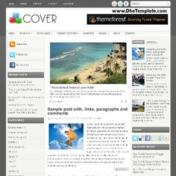 Cover blog template. template image slider blog. magazine blogger template style
