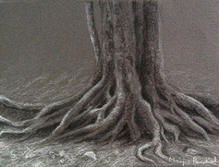 Step 3 - Charcoal sketching of exposed roots of a tree by Manju Panchal