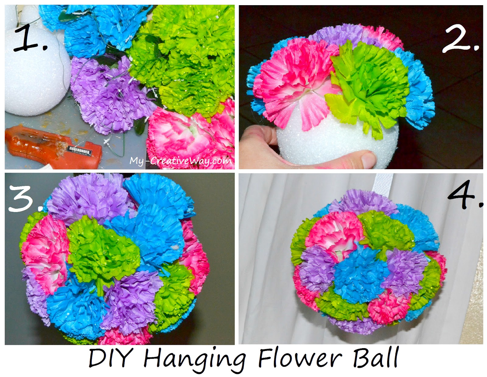 My Creative Way How to make a hanging Flower Ball DIY Crafts Tutorial