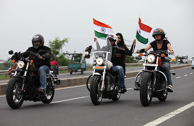 75 Harley Davidson bikers rode on the roads of Noida on the morning of Independence Day
