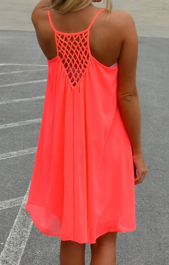 Spaghetti Strap Hollow Shift Neon Red Dress