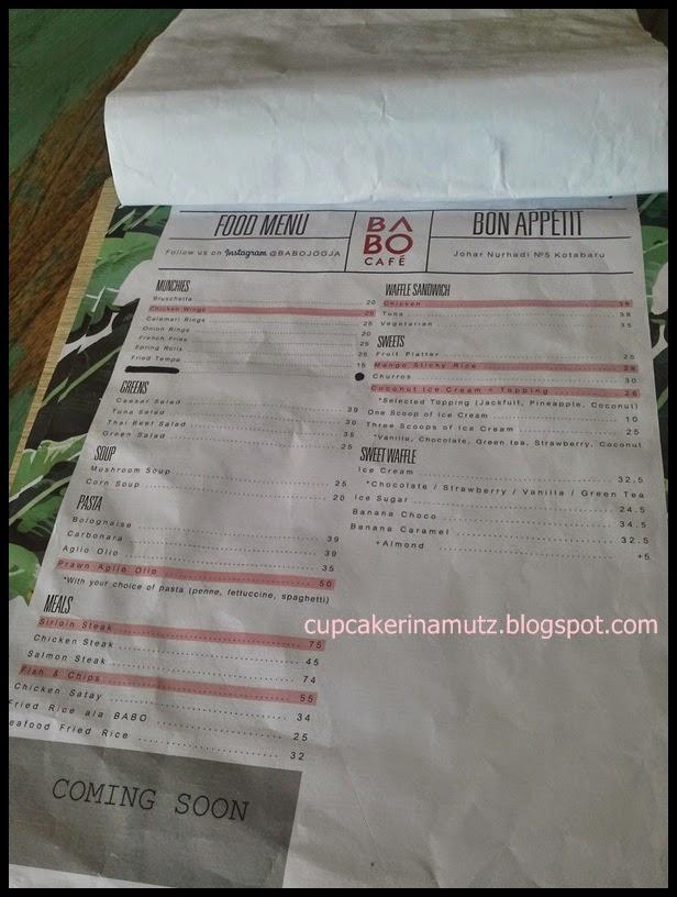 Kuliner jogja babo cafe rina chabbymutz for Z kitchen jogja menu