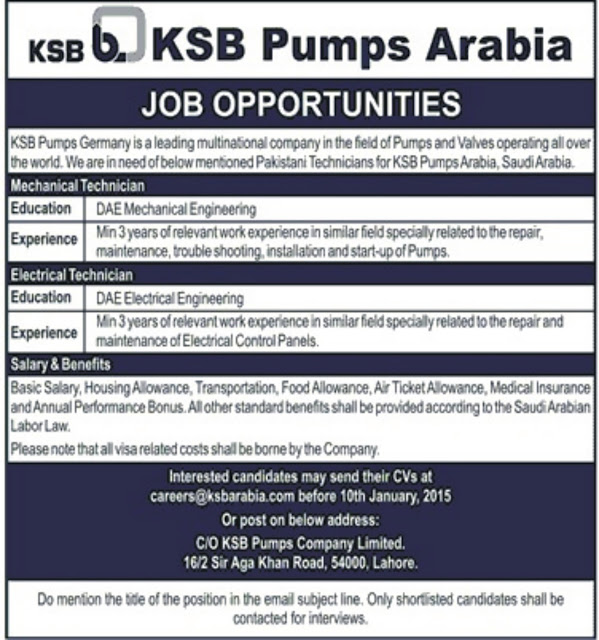 DAE Mechanical / Electrical Jobs in KSB Pumps Arabia Lahore