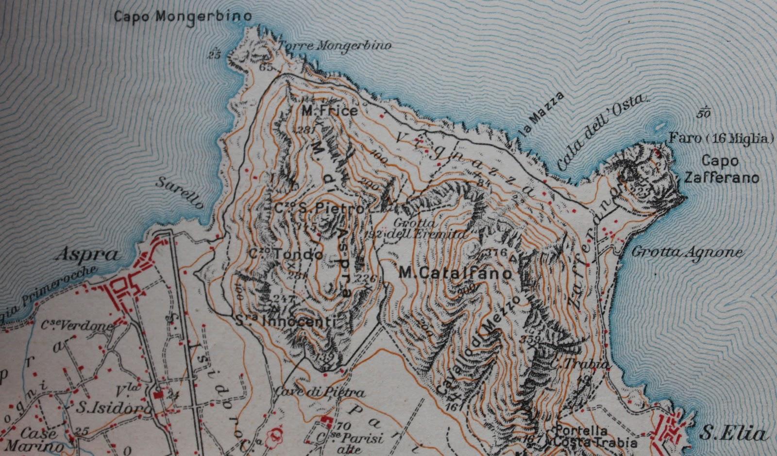 Reportagesicilia 2012 una visione topografica della zona di capo zafferano in scala 150000 tratta dalla carta geografica palermo la conca doro e dintorni thecheapjerseys Images