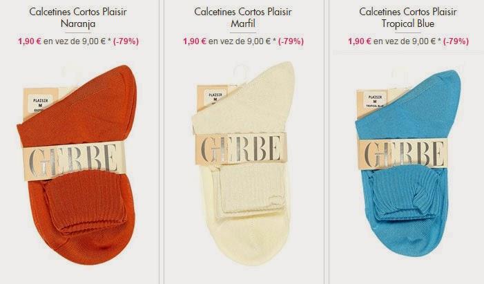 Ejemplos de calcetines cortos de varios colores en oferta