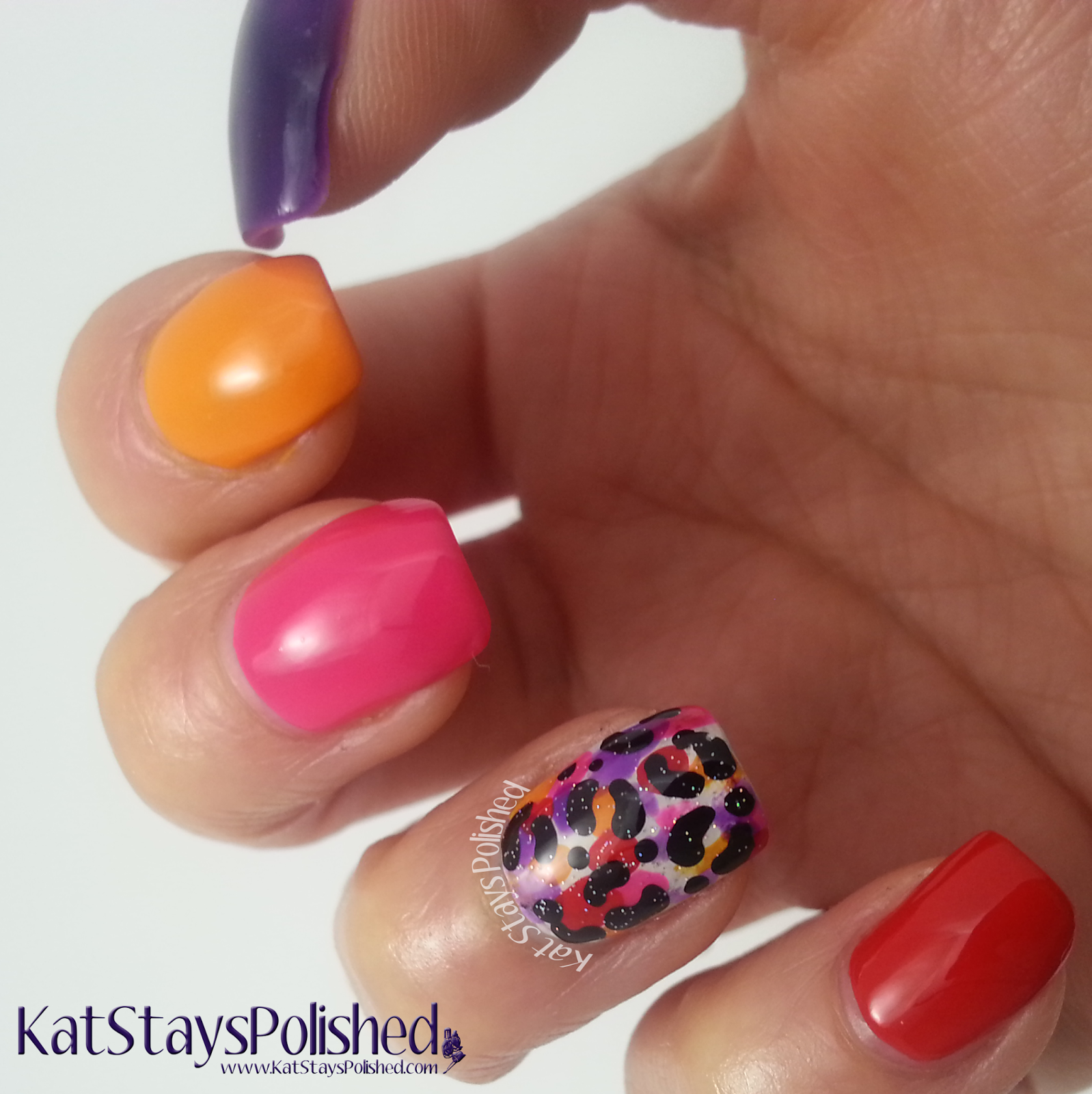 Colorful Leopard Accent Mani | | Frankly Chat | Kat Stays Polished