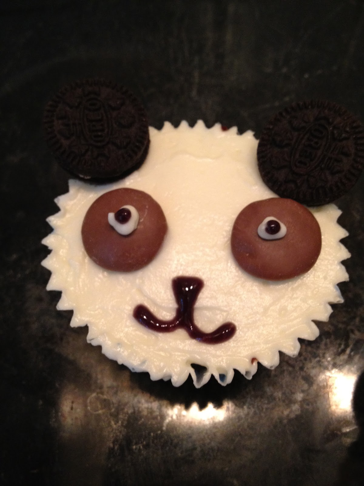 Rose Tinted Heart Cute Panda Cupcakes With Mini Oreo Ears