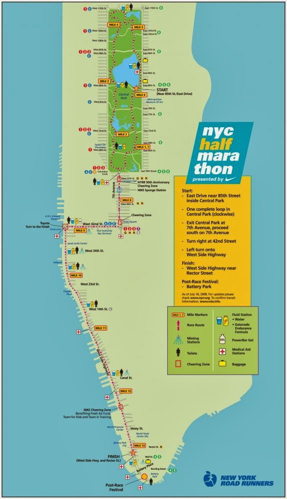 NYC half 2014 course map