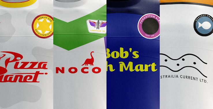 Los personajes de películas de Pixar hechas en camisetas de fútbol