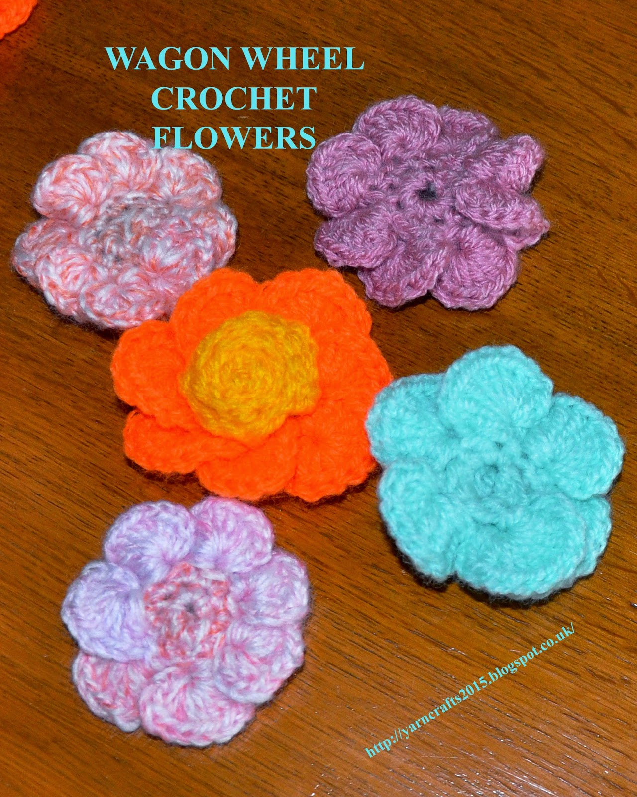 crochet wagon wheel flowers