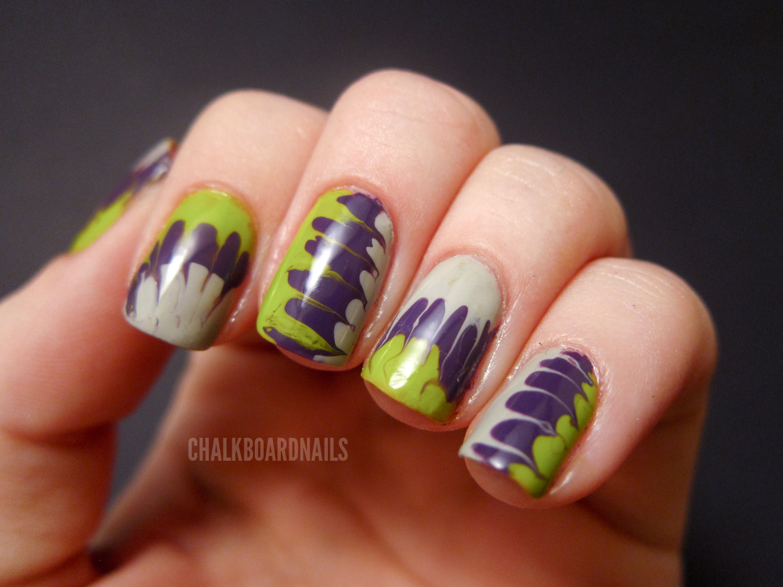 Halloween Needle Marbling | Chalkboard Nails | Nail Art Blog