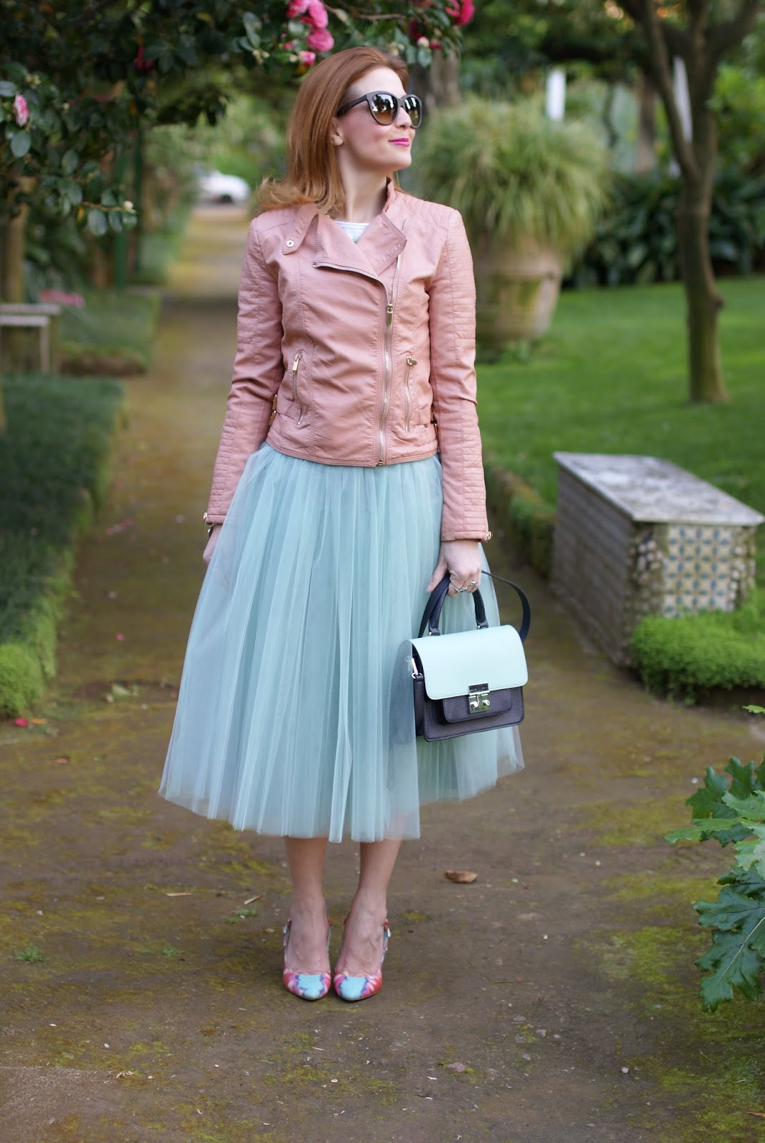 Outfits, tulle skirt, mint tulle skirt, Sodini bijoux necklace, pink faux leather biker jacket, Fashion and Cookies, fashion blogger
