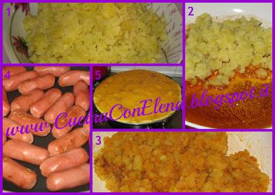 frittata con wurstel e patate