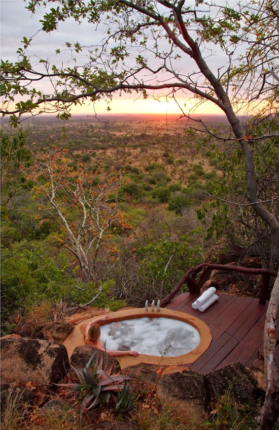 Safari Fusion blog | Bath with a view | At one with the elements with endless views of Kenya's bush plains at Elsa's Kopje, Meru National Park Kenya