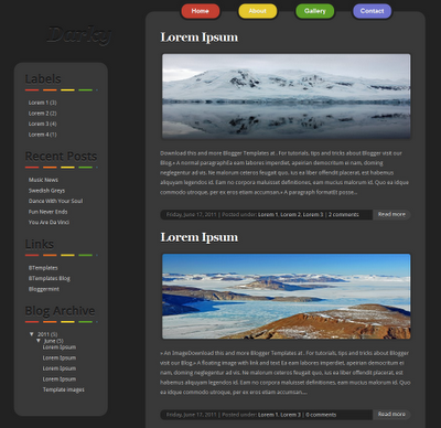 Simple dark Blogger Template