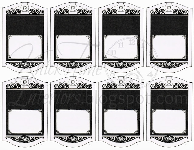 Printable Hang Tags-Gift Tags-Black Wrapping Paper-Royalty Free-Clipart-Antique Graphic-by http://knickoftimeinteriors.blogspot.com/